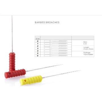 Disposable Dental Barbed Broaches with plastic Handle 21mm 25mm 0-6#